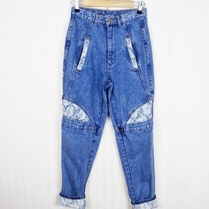 TRAFFIC Vintage High Waist Jeans Lace Inserts